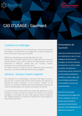 Client Endpoint Protection use case : Gaumont