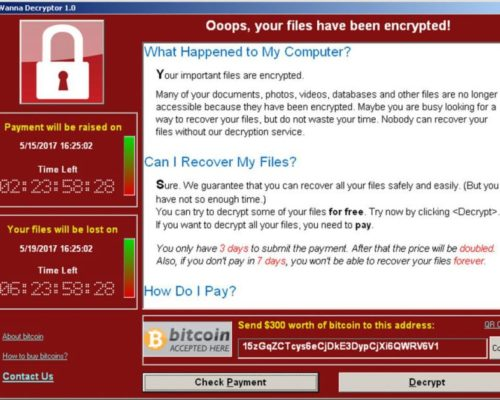 Wannacry screen payement information
